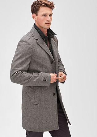 Modern Fit: Pepita-Mantel mit Wolle