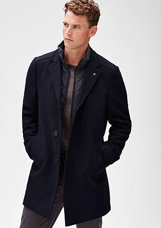 Modern fit: twill mantel van een wolmix