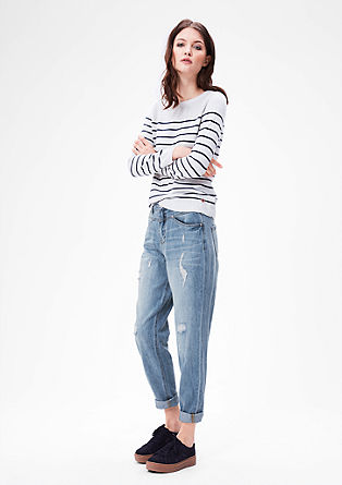 Mom fit: jeans with distressed details from s.Oliver