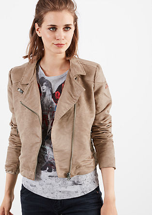 Motoristična jakna v videzu semiša