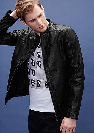 Motoristična jakna v videzu svetlečega usnja