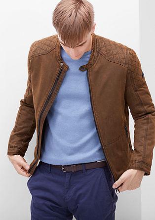 Motoristična jakna v videzu velurnega usnja