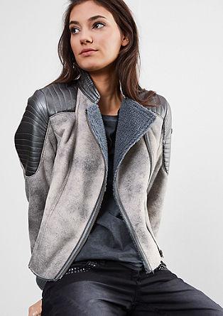 Motoristična jakna videzu ovčjega usnja