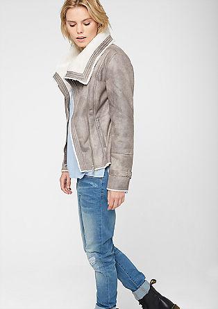 Motoristična jakna z umetnim krznom