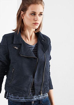 Motorkářská bunda se semišovým vzhledem