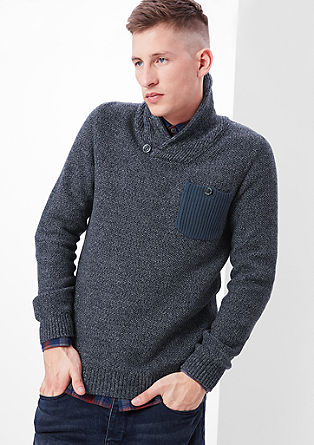Mottled knit jumper with a collar from s.Oliver