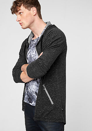 Mottled sweatshirt jacket with a hood from s.Oliver