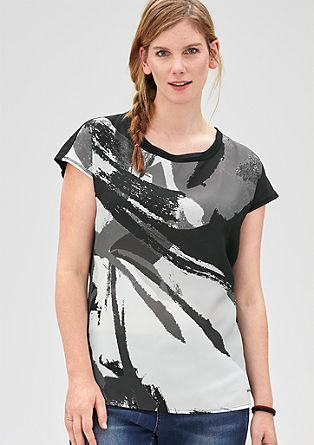 Mouwloos shirt van een materiaalmix