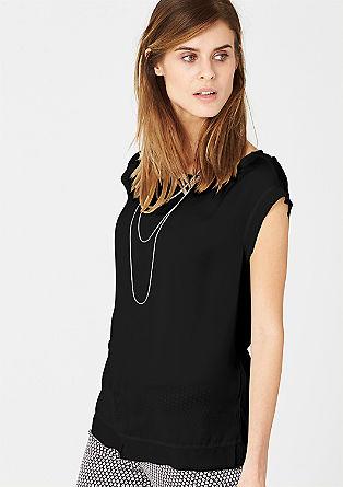 Mouwloze blouse van een materiaalmix