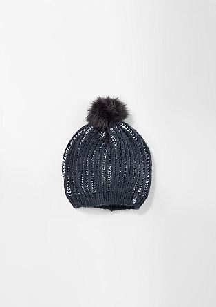 Mütze mit Kunstpelz-Bommel