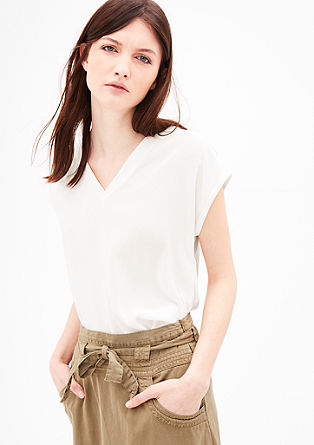 Mullet hem blouse top with crêpe from s.Oliver