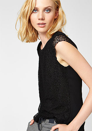 Mullet-style blouse with lace from s.Oliver