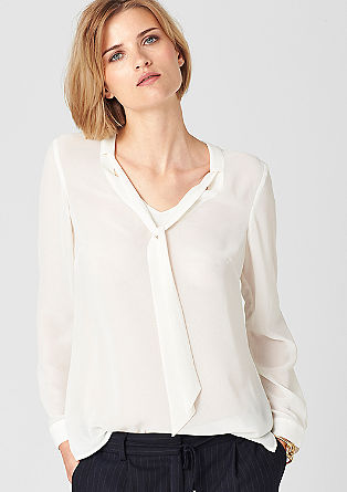 Mullet-style crêpe blouse with a pussycat bow from s.Oliver