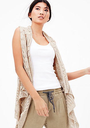 Mullet-style poncho with a knit pattern from s.Oliver