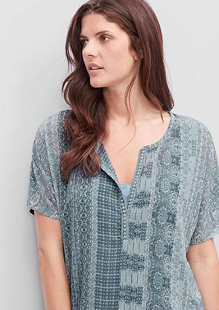 Muster-Shirt mit Crêpe-Front