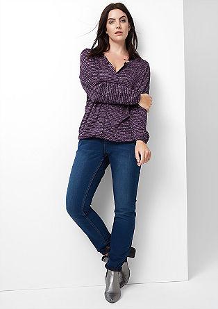 Muster-Shirt mit Tunika-Ausschnitt