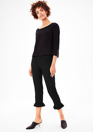 Narrow stretch trousers with ruches from s.Oliver