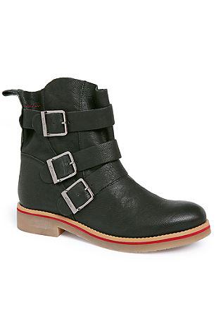 Nizki, usnjeni škornji z zaponko