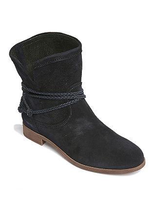 Nizki škornji iz velurnega usnja z okrasnim trakom
