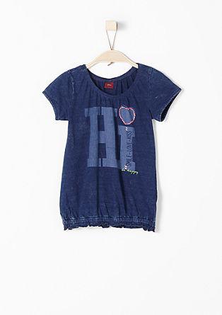O-shape shirt met garment-washed effect