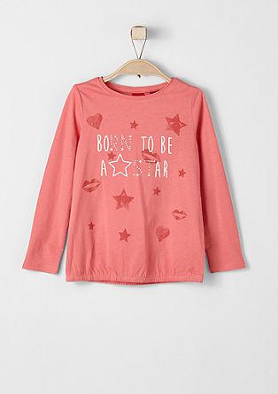 O-shape shirt met glittersteentjes