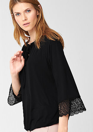 O-shaped shirt met kanten details
