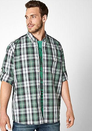 Običajna velikost: Karirasta srajca z ovratnikom na gumb