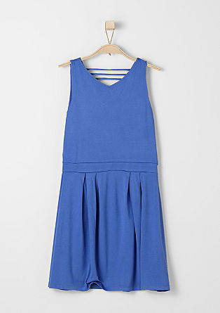 Obleka iz džersija z V-izrezom na zatilju