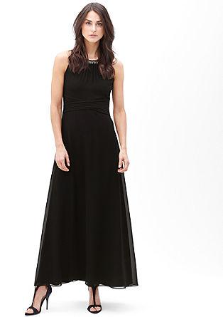Obleka iz šifona z obrobo z okrasnimi biseri