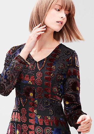 Obleka z žametnim vzorcem