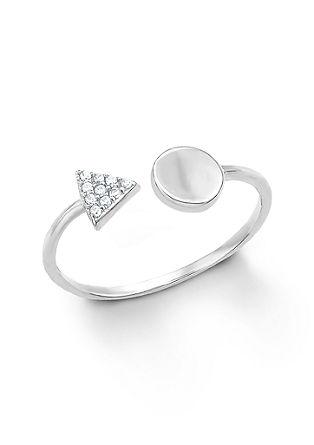 Odprt geometrijski prstan iz srebra