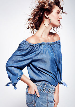 Off Shoulder-Bluse aus Denim