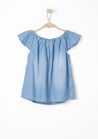 Off Shoulder-Bluse aus Denim