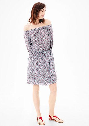 Off Shoulder-Kleid mit Ethnomuster