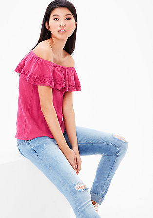 Off-the-shoulder shirt met kant