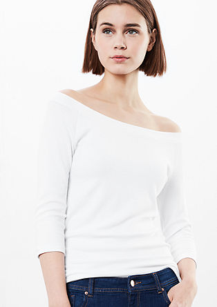 Off-the-shoulder top in ribbed fabric from s.Oliver