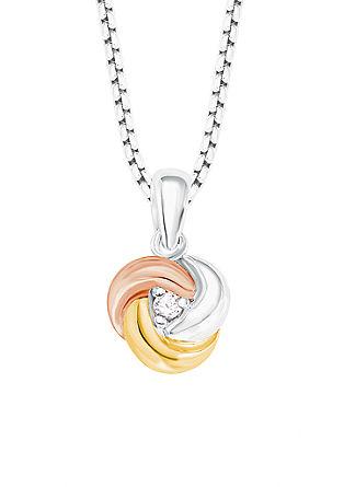 Ogrlica z elegantnim obeskom v obliki vozla v treh barvah