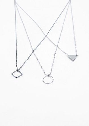 ogrlica z geometričnimi obeski