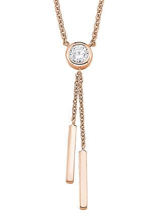 Ogrlica z rožnatim zlatom s cirkoni