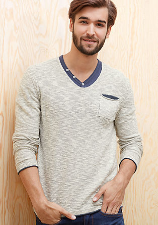Ohlapen pleten pulover s kontrasti