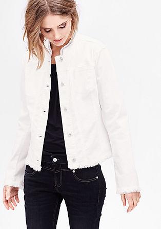 Okrašena kratka jakna v videzu jeansa