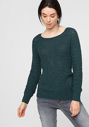 Opengewerkte trui met metalen zipper