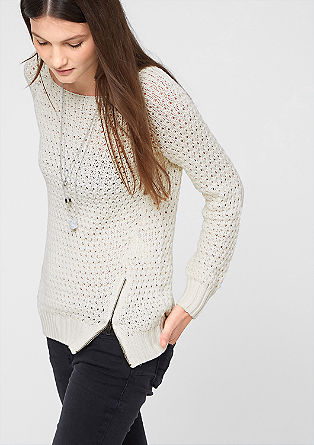 Openwork jumper with a metal zip from s.Oliver