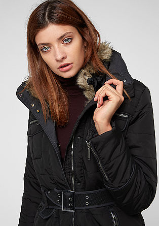 Outdoor jacket with a fake fur insert from s.Oliver