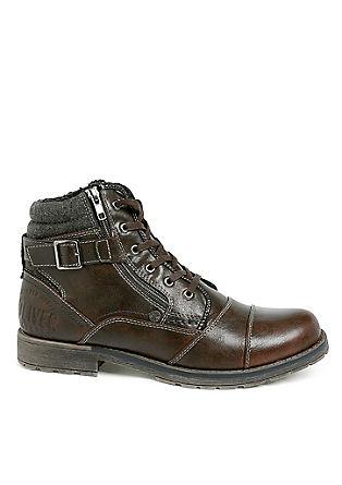 Outerwear-boots van een materiaalmix
