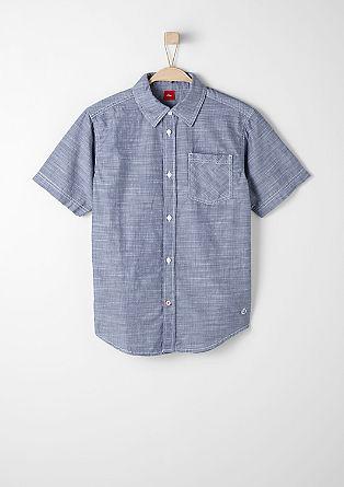 Overhemd met korte mouwen en geweven strepen