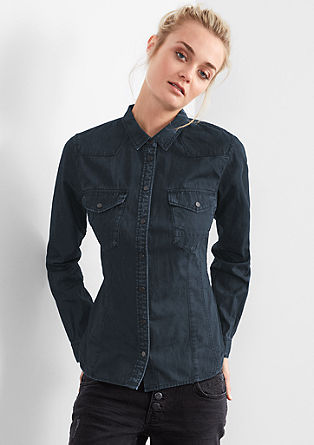 Overhemdblouse met een garment-washed effect