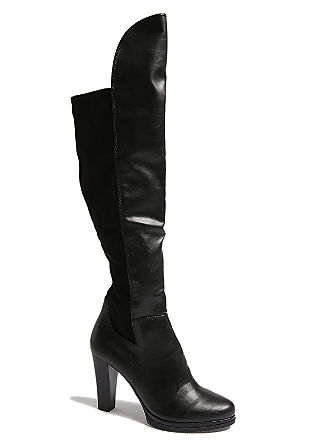 Overknee-Stiefel im Materialmix