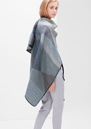 Oversize-Poncho in Colorblocking