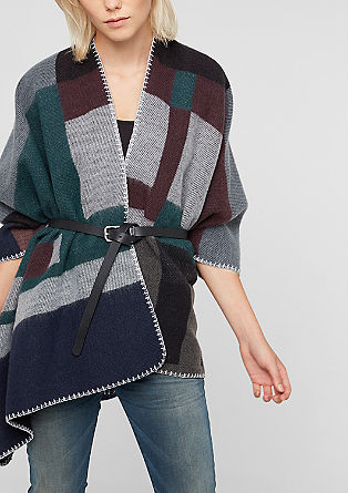 Oversize-Poncho in Woll-Optik